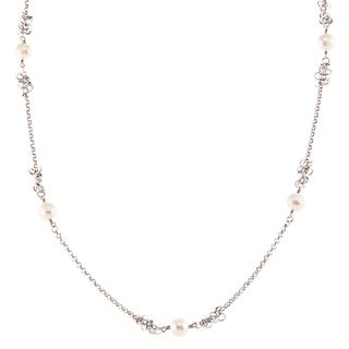 Kabella Sterling Silver Freshwater Pearl Knotted Necklace (8-9 mm)