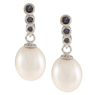 Kabella Sterling Silver Freshwater Pearl with Sapphires Dangle Earrings (7.5-8 mm)