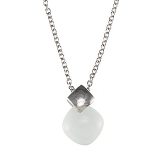 Kabella Sterling Silver Square White Ceramic Stone Necklace