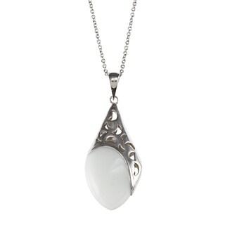 Kabella Sterling Silver White Ceramic Half Moon Design Necklace