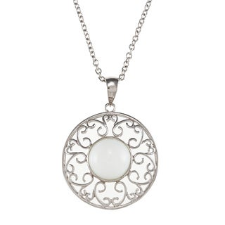 Kabella Sterling Silver Bezel-set White Ceramic Cabochon Medallion Necklace