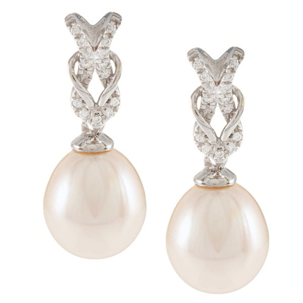 Kabella Sterling Silver Freshwater Pearl with Cubic Zirconia Rope Knot Dangle Earrings (9-9.5 mm)