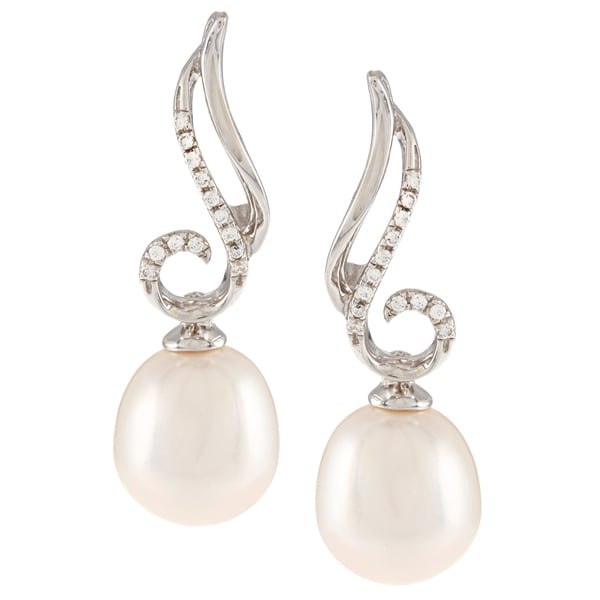 Kabella Sterling Silver Freshwater Pearl with Cubic Zirconia Swirl Dangle Earrings (9-9.5 mm)