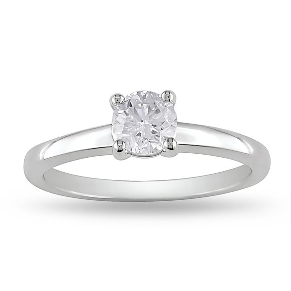 Miadora Signature Collection 14k White Gold 3/5ct TDW Certified Diamond Solitaire Ring