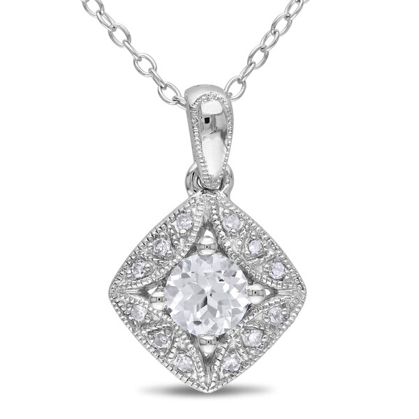 Miadora Sterling Silver Created White Sapphire and Diamond Necklace