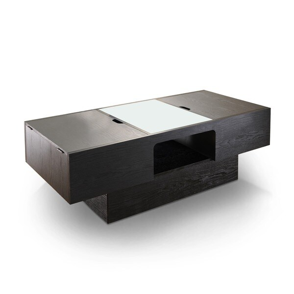 Furniture Of America Stevie Black Finish Hidden Storage Coffee Table Free Shipping Today 14811861