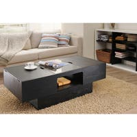 Furniture of America Stevie Black-finished Wood Veneer and Glass Hidden Storage Coffee Table