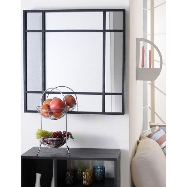 Furniture of America Yoza Modern Black Finish Glass Mirror