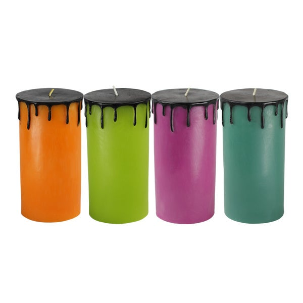 3 x 6 Halloween Drip Pillar Candle (Set of 6)