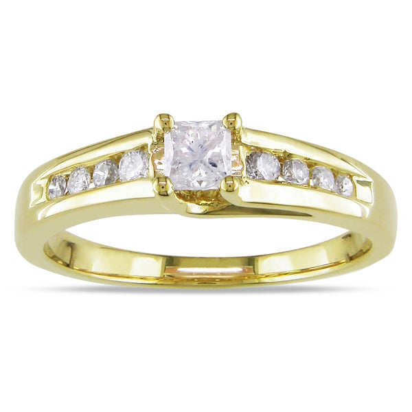 Miadora 10k Yellow Gold 1/2ct TDW Diamond Engagement Ring (H-I, I2-I3)