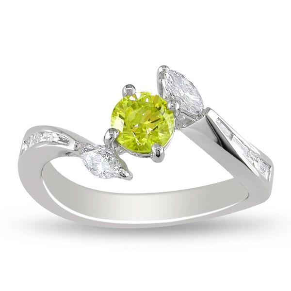Miadora 18k White Gold 1ct TDW Yellow and White Diamond Ring