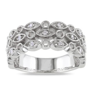 Miadora Sterling Silver Round-cut Diamond Accent Ring