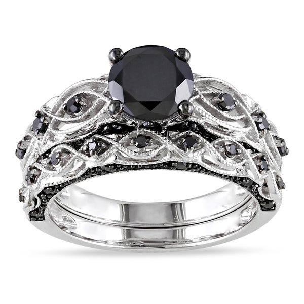 Miadora 10k White Gold 1 3/8ct TDW Black Diamond Infinity Bridal Ring Set