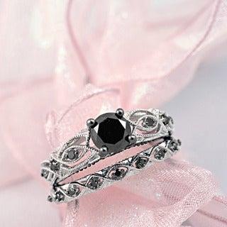 Miadora 10k White Gold 1 3/8ct TDW Black Diamond Infinity Engagement Ring Set