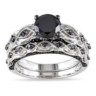 Link to Miadora 10k White Gold Black Diamond Infinity Engagement Ring Set Similar Items in Rings
