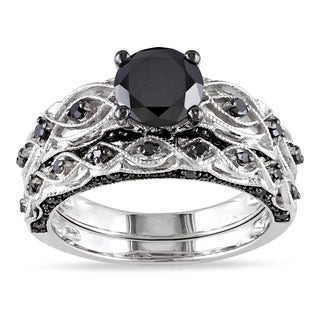 miadora 10k white gold 1 38ct tdw black diamond infinity bridal ring set - Engagement And Wedding Ring Set