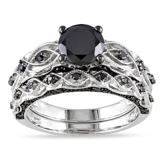 Miadora 10k White Gold with Black Rhodium 1 3/8ct TDW Black Diamond Infinity Bridal Ring Set