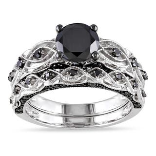 miadora 10k white gold 1 38ct tdw black diamond infinity engagement ring set - Black Diamond Wedding Ring Set