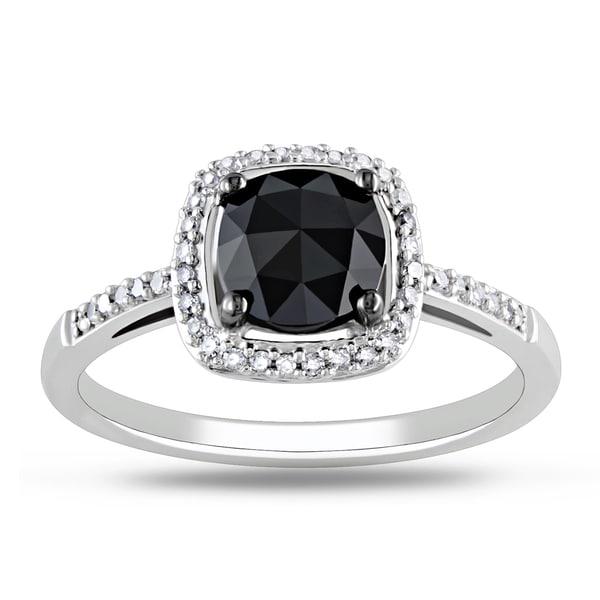Miadora 14k White Gold 1 1/8ct TDW Black Diamond Ring
