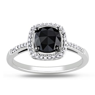 Miadora 14k White Gold 1 1/8ct TDW Black Diamond Ring