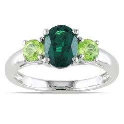 Miadora Sterling Silver 3-stone Ring