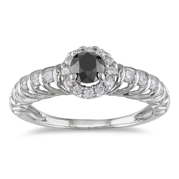 Miadora 14k White Gold 3/5ct TDW Black and White Diamond Ring