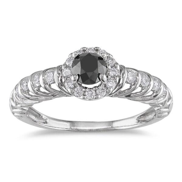 Miadora 14k White Gold 3/5ct TDW Black and White Diamond Ring (G-H, I1-I2)