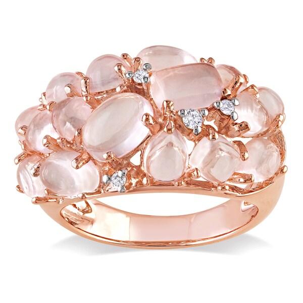 Miadora Rose-plated Silver Rose Quartz and Diamond Accent Ring