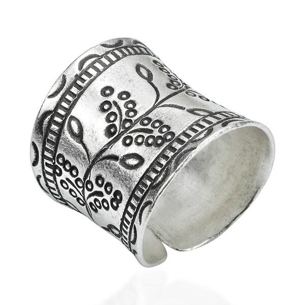 Floral Vines Thai Karen Hill Tribe Fine Silver Wrap Ring (Thailand)