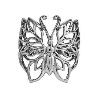 Handmade Pretty Wild Sterling Silver Filigree Butterfly Ring (Thailand)