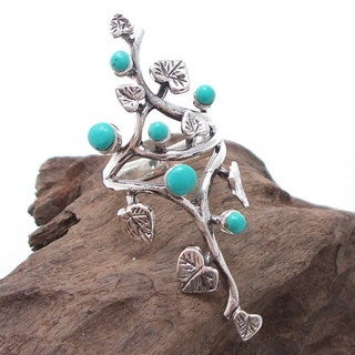 Sterling Silver Beautiful Vine Leaves Round Turquoise Ring (Thailand)