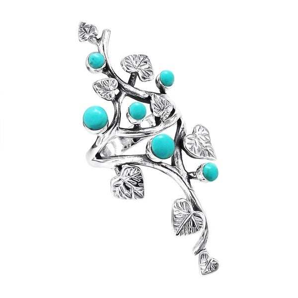 Handmade Sterling Silver Beautiful Vine Leaves Turquoise Ring