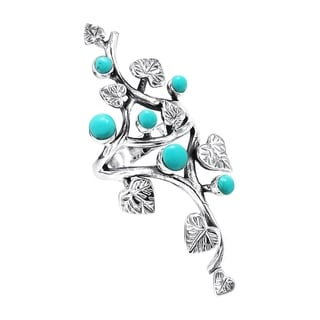Handmade Sterling Silver Beautiful Vine Leaves Round Turquoise Ring (Thailand)
