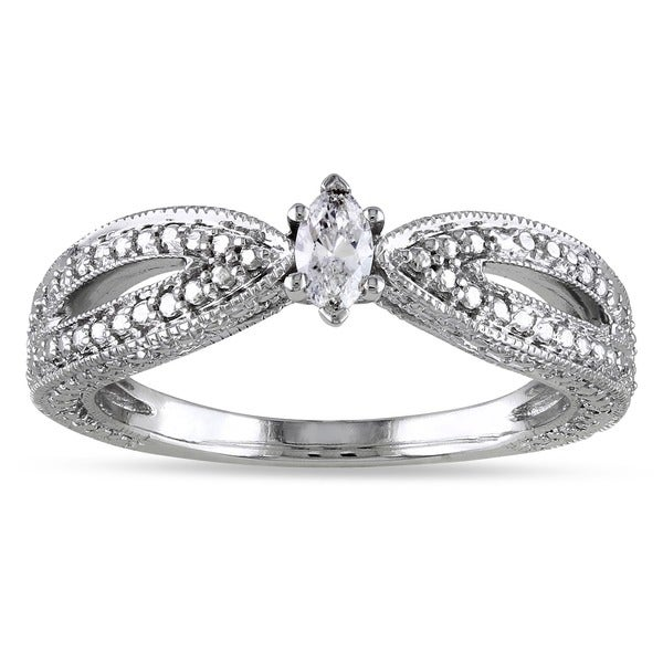 Miadora 10k White Gold Marquise-cut Diamond Solitaire Split Shank Promise Ring