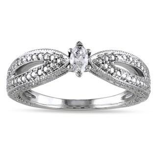 Miadora 10k White Gold Marquise-cut Diamond Solitaire Split Shank Promise Ring (G-H, I2-I3)