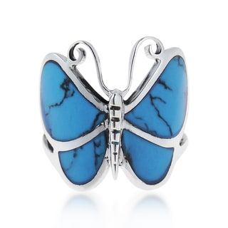 Handmade Sterling Sliver Chic Butterfly Motif Stone Ring (Thailand)