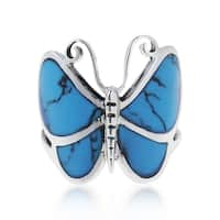 Handmade Sterling Sliver Chic Butterfly Motif Stone Ring (Thailand) - Blue