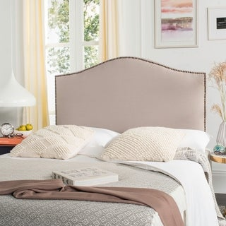 Safavieh Connie Taupe Grey Linen Upholstered Headboard - Brass Nailhead