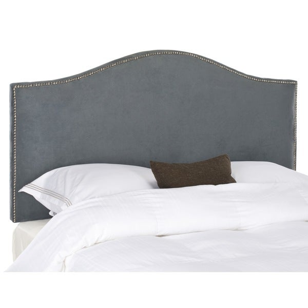 Safavieh Connie Grey Velvet Camelback Headboard - Silver Nailhead