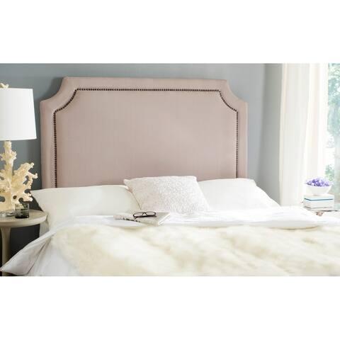 Safavieh Shayne Taupe Linen Upholstered Headboard - Brass Nailhead (Queen)