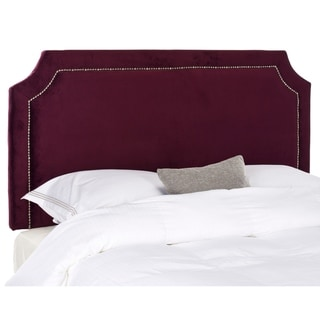 Safavieh Shayne Bordeaux Upholstered Headboard - Silver Nailhead (Queen)