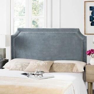 Safavieh Shayne Grey Suede Upholstered Headboard -Silver Nailhead