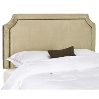 Safavieh Shayne Antique Sage Upholstered Headboard - Brass Nailhead