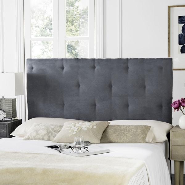 Safavieh Martin Grey Velvet Upholstered Tufted Headboard