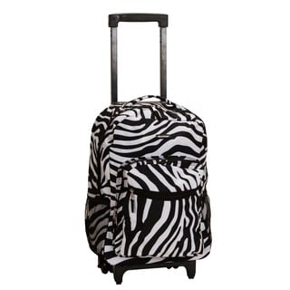 Rockland Designer Zebra Print 17-inch Rolling Carry-on Backpack