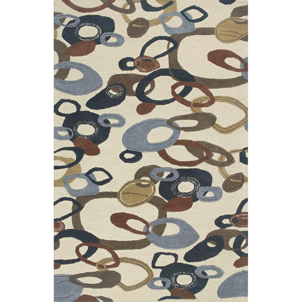 Hand-tufted Ivory/ Blue Wool Area Rug