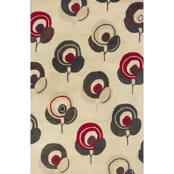 Hand-tufted Beige/ Red Wool Area Rug