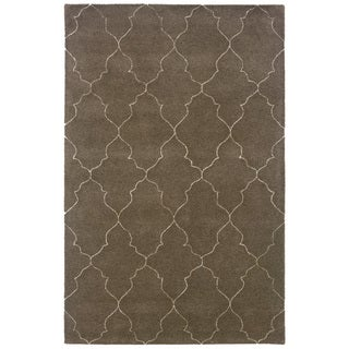 Hand-Tufted Grey/Beige Indoor Wool Area Rug