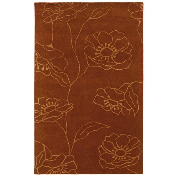 Hand-tufted Orange/ Rust Wool Area Rug