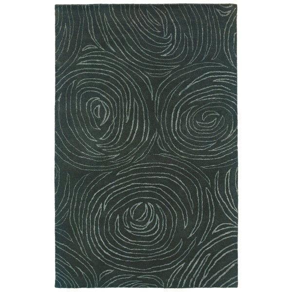 Hand-tufted Blue Wool Area Rug